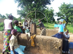 One of two pumps in Kayero -- it's hard work!